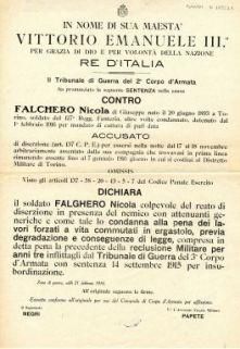 Il Tribunale di Guerra del 2. Corpo d'Armata ha pronunciato la seguente sentenza nella causa contro Falchero Nicola ... accusato del reato di diserzione ...