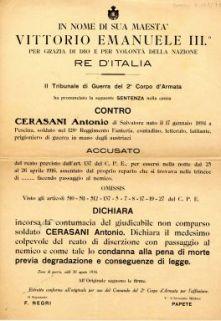 Il Tribunale di Guerra del 2. Corpo d'Armata ha pronunciato la seguente sentenza nella causa contro Cerasani Antonio ... accusato del reato di diserzione con passaggio al nemico ...