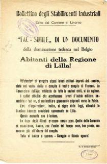 """""""Fac-simile"""" di un documento della dominazione tedesca nel Belgio : abitanti della Regione di Lilla ..."""