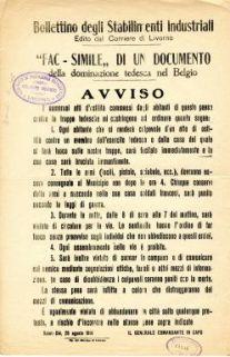 """""""Fac simile"""" di un documento della dominazione tedesca nel Belgio"""