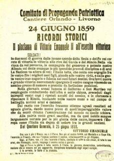 24 giugno 1859 ricordi storici : 2. proclama di Vittorio Emanuele 2. all'esercito vittorioso