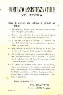 Norme da osservarsi nella confezione di indumenti per militari / Comitato Assistenza Civile Volterra