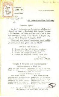 """Onorevole Signore, la S.V. è vivamente pregata intervenire all'Assemblea Generale dei Soci e Benefattori della Società Torinese """"Pro Pueritia"""" ..."""