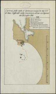 Cartina della rada di Durazzo eseguita dal S.T. di vasc. Caffaratti nella incursione aerea coi Caproni del 25 luglio 1916