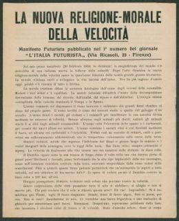 """La nuova religione-morale della velocità  : manifesto futurista pubblicato nel 1. numero del giornale """"L'Italia futurista""""  / F. T. Marinetti"""