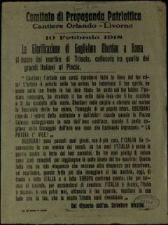 10 febbraio 1918 La glorificazione di Guglielmo Oberdan a Roma. Il busto del martire di Trieste, collocato tra quello dei grandi italiani al Pincio  / dal discorso dell'on. Salvatore Barzilai