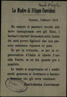 La madre di Filippo Corridoni  / Enrichetta Corridoni
