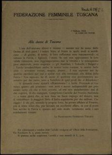 Alle donne di Toscana  / Federazione femminile toscana
