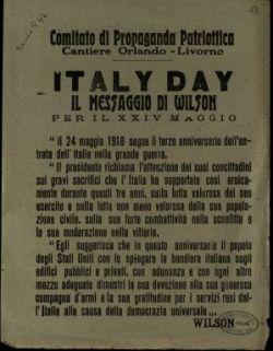 Italy day  : il messaggio di Wilson per il 24 maggio  / Wilson