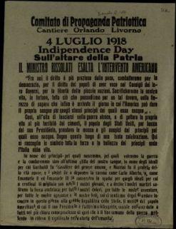 4 luglio 1918 indipendence day sull'altare della patria il ministro Bissolati esalta l'intervento americano  / Comitato di Propaganda Patriottica Cantiere Orlando Livorno