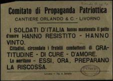 Comitato di propaganda patriottica cantiere Orlando & C. Livorno