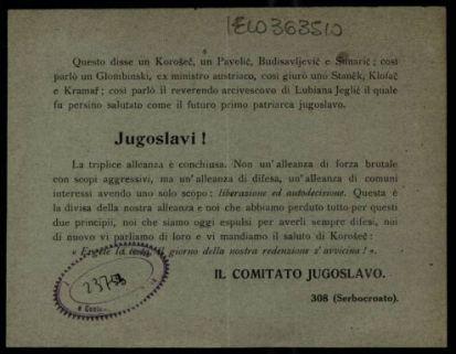 16, 17 e 18 agosto  / Il Comitato Jugoslavo