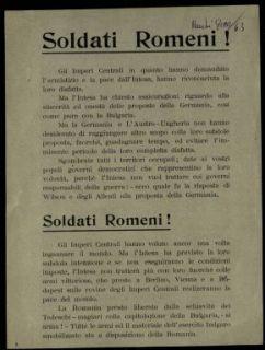 Soldati Romeni!  / gli ufficiali e i soldati della Legione romena d'Italia