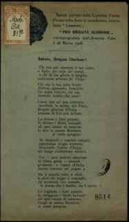 Salute, brigate gloriose!  : saluto portato dalla Contessa Vanna Piccini nella festa di beneficienza indetta dalla Leonardo Pro Brigato Gloriose cinematografata dall'Armenia Film il 26 Marzo 1918