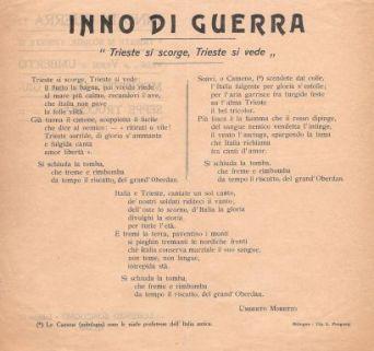 "Inno di Guerra ""Trieste si scorge, Trieste si vede"" / versi di Umberto Moretto ; musica di Giuseppe Trucchia"