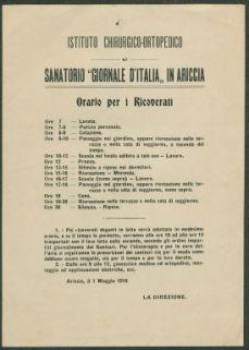 Orario per i ricoverati / Istituto chirurgico-ortopedico e Sanatorio Giornale d'Italia in Ariccia