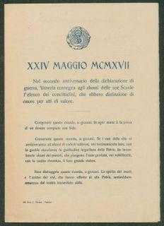 24. Maggio 1917  : nel secondo anniversario della dichiarazione di guerra, Venezia consegna agli alunni delle scuole l'elenco dei concittadini, che ebbero distinzione di onore per atti di valore