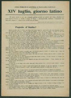 14. luglio, giorno latino  / Opere federate di assistenza e propaganda nazionale