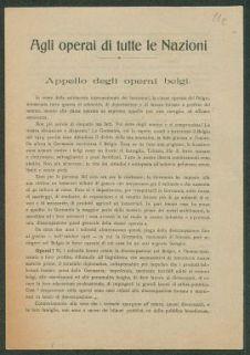Agli operai di tutte le Nazioni  : appello degli operai belgi