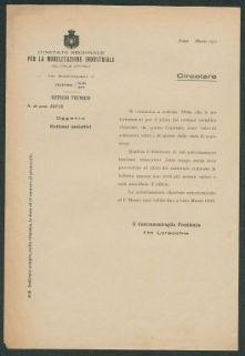 Rottami metallici  : circolare, N. di prot. 52716  / Comitato regionale per la mobilitazione industriale dell'Italia centrale, ufficio tecnico