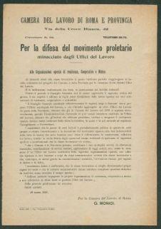 Per la difesa del movimento proletario minacciato dagli uffici del lavoro  : circolare n.12  / Camera del lavoro di Roma e provincia