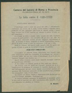La lotta contro il caro viveri  / Camera del lavoro di Roma e provincia