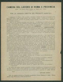 Per la vendita diretta dei prodotti agricoli  / Camera del lavoro di Roma e provincia