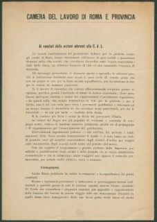 Ai comitati delle sezioni aderenti alla C. d. L.  / Camera del Lavoro di Roma e provincia