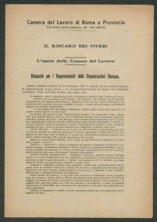 Il rincaro dei viveri  : l'opera della Camera del lavoro  : riassunto per i rappresentanti delle organizzazioni romane  / Camera del Lavoro di Roma e provincia