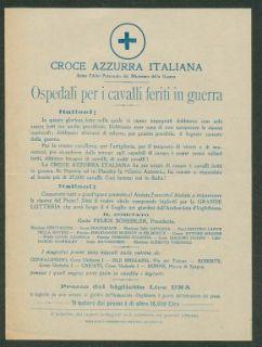 Ospedali per i cavalli feriti in guerra  / Croce azzurra italiana