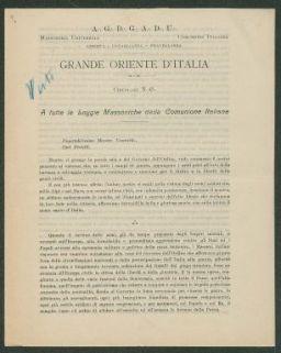 A tutte le loggie massoniche della comunione italiana  : circolare n. 45  / Grande oriente d'Italia