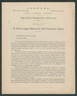 A tutte le loggie massoniche della comunione italiana  : circolare n. 53  / Grande oriente d'Italia