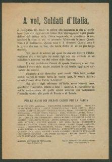 A voi, soldati d'Italia  / Comitato centrale di propaganda