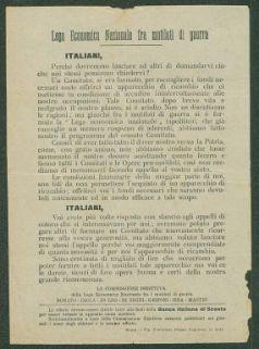 Italiani, perché dovremmo lasciare ad altri di domandarvi ciò che noi stessi possiamo chiedervi?  / Lega Economica Nazionale fra mutilati di guerra