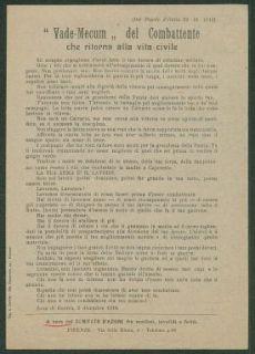 """""""Vade Mecum"""" del combattente che torna alla vita civile  : (dal popolo d'Italia 22,12,1918)  / Comitato d'azione fra mutilati, invalidi e feriti"""