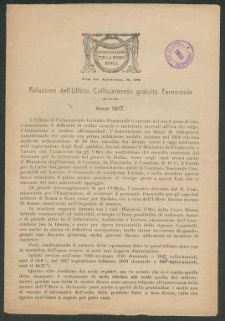 Relazione dell'Ufficio Collocamento gratuito Femminile  / Associazione per la donna, Roma