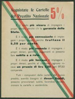 Acquistate le cartelle del prestito nazionale 5%