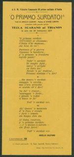 'O primmo surdato!  : a S. M. Vittorio Emanuele 3. primo soldato d'Italia  / versi di Aniello Califano, musica di Ettore Lopinto