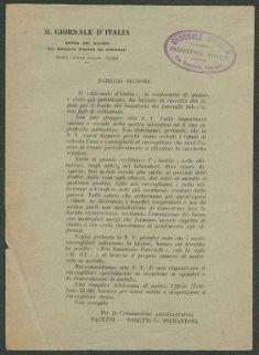 Egregio signore  / Il Giornale d'Italia, Opera dei rifiuti pro sanatorio fanciulli dei richiamati