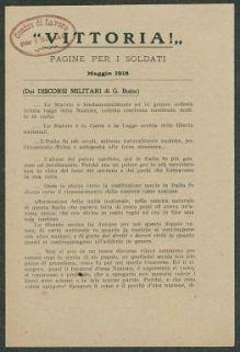 """""""Vittoria!""""  : pagine per i soldati, Maggio 1918"""