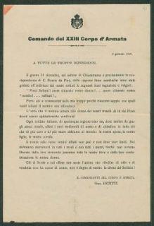 2 gennaio 1918  / Comando del 23. Corpo d'Armata