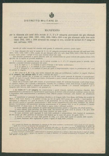Di leva, nonché dei militari di 3. categoria nati nell'anno 1879