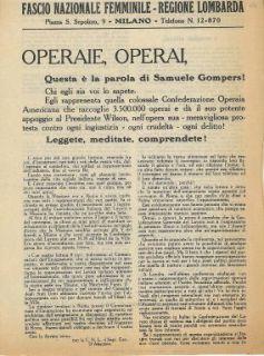 Operaie, operai, questa è la parola di Samuele Gompers! / Fascio Nazionale Femminile, regione lombarda ; Ufficio Tecnico di Propaganda Nazionale