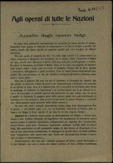Agli operai di tutte le nazioni  : appello degli operai belgi  / gli operai Belgi