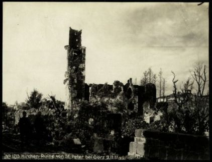 Kirchen-ruine von St. Peter bei Görz. Fotografia dell'esercito Austro-Ungarico