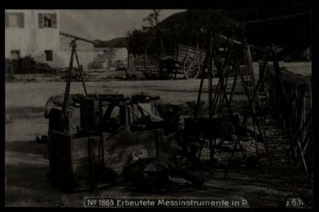 Erbeutete messinstrumente in P[...]. Fotografia dell'esercito Austro-Ungarico