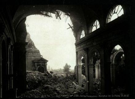 Zerschossene kirche in S. Polo. Fotografia dell'esercito Austro-Ungarico