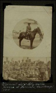 Ufficiali del X Battaglione nella piazza di Turriaco (Basso Isonzo) 1915