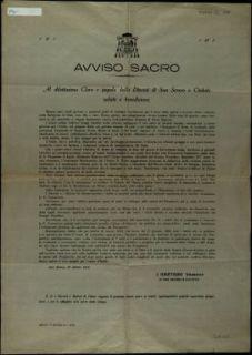 Avviso sacro  / Gaetano Vescovo di San Severo e civitate