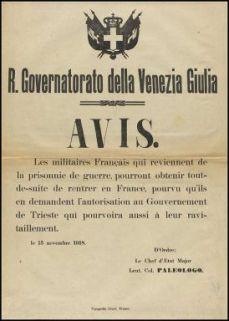 Avis / R. Governatorato della Venezia Giulia